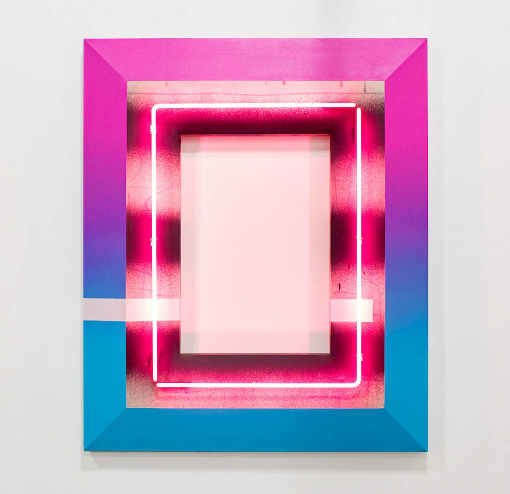 Tim Kent Art Shaped Canvas Painting with neon pink