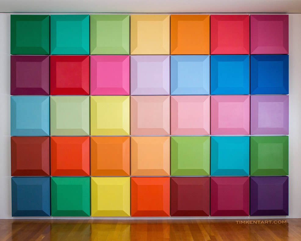 Tim Kent Art Shaped Canvas Installation of 175 Chroma painting