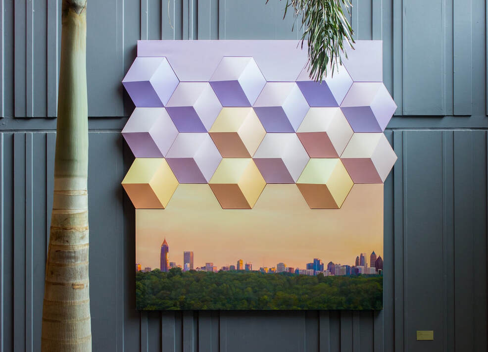Tim Kent Art City in a Forest Atlanta Skyline oil painting on shaped canvases