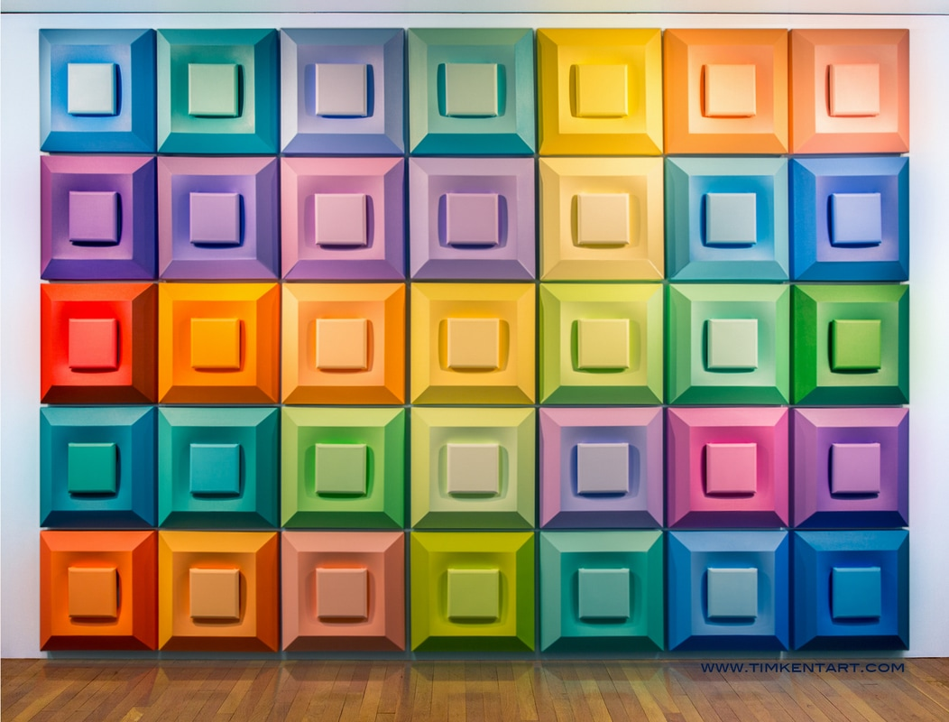 385 Chroma, colorful shaped canvas painting installation by Tim Kent Art 2017